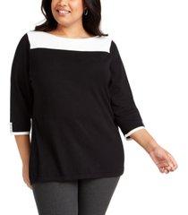 karen scott plus size colorblocked sweater, created for macy's