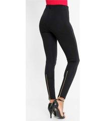 stretch legging met gouden ritssluiting