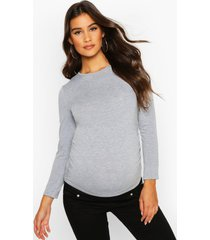 maternity long sleeve ruched t shirt, light grey
