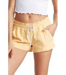 women's roxy 'oceanside' linen blend shorts, size small - orange