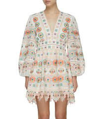 brighton' v-neck embroidered plunge cotton dress