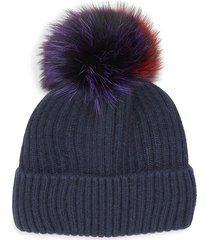 glamourpuss nyc women's multicolor fox & rabbit fur pom-pom beanie - black multicolor