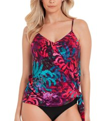 magicsuit coral springs printed tie-side tankini top women's swimsuit