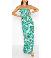 petite palm print tie strap maxi dress, green