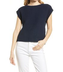 women's madewell boatneck button-back sweater, size xx-small - blue