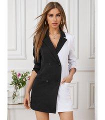 vestido blazer de manga larga con cuello de solapa y bolsillo con diseño de botones de retazos yoins