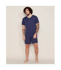pijama masculino d'noite manga curta azul marinho