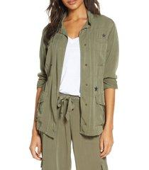 women's pj salvage weekend warrior star print jacket, size small - green