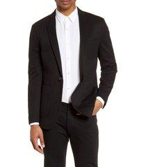 men's topman classic fit jersey blazer, size 38 r - black