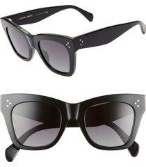 celine 50mm polarized square sunglasses in black/grey polar at nordstrom