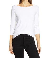 women's halogen back detail sweater, size medium - white