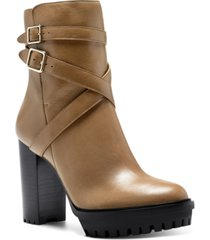 vince camuto women's elisen buckle lug sole booties women's shoes