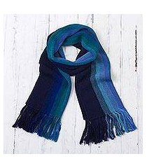 100% alpaca scarf, 'evening sky stripes' (peru)