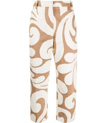 marni graphic swirl-print trousers - neutrals