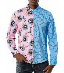 contrast skull chain print leisure long sleeve shirt