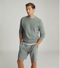 reiss joseph - garment-dye sweatshirt in dark sage, mens, size xxl