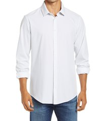 mizzen+main leeward trim fit ditsy medallion button-up performance shirt, size x-large in white geo dot print at nordstrom