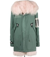 mr & mrs italy crystal embellished parka coat - green