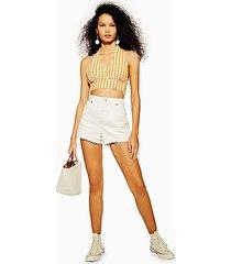 premium white denim mom shorts - white