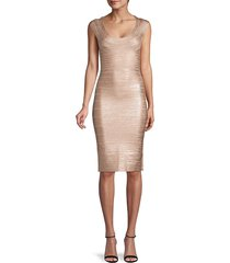 herve leger women's knit bandage bodycon dress - rose gold - size m