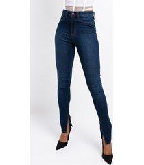 akira ruby high rise split hem skinny jeans