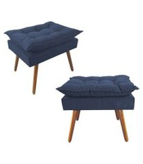 kit 02 puffs decorativos opalla pés palito suede azul marinho - ds móveis
