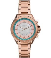 fossil women's tech sadie rose gold-tone stainless steel bracelet hybrid smart watch 38mm