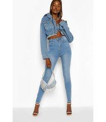 tall denim bum lifting skinny jeans, light blue