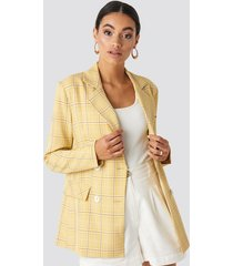 na-kd classic plaid double breasted blazer - yellow