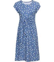 jersey jurk met stippen van bio-katoen met wikkeltaille, jeans-motief 42