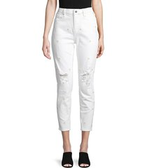 driftwood women's distressed daisy embroidery crop jeans - white - size 25 (2)