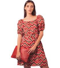 vestido adrissa estampado geometrico con escote cuadrado y volumen en mangas rojo