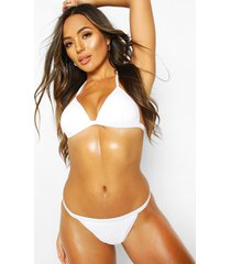 ribbed textured moulded triangle bikini, white