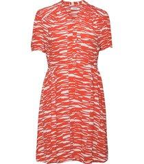 short slv v-nk short dress kort klänning röd calvin klein