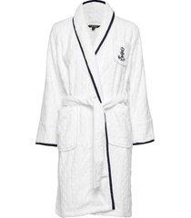 lrl cable terry shawl collar robe morgonrock vit lauren ralph lauren homewear
