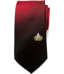 men's cufflinks, inc. star trek tng shield silk tie, size regular - red