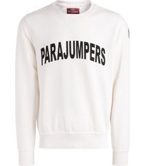 parajumpers caleb sweatshirt in white cotton with logo