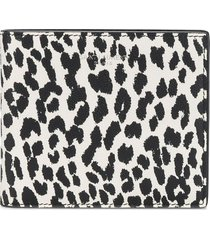 saint laurent leopard print leather wallet - white