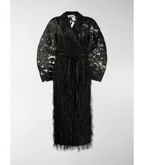 ganni belted feather-effect coat