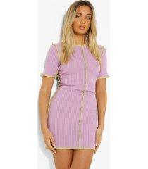 geribbelde gebreide mini jurk met korte mouwen en naaddetail, lilac