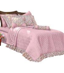 cobre leito bella flor casal queen 5 peças em microfibra 180 fios rosê