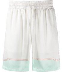 casablanca satin tennis shorts - white