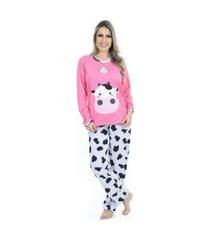 pijama bella fiore modas manga longa e calça rosa vaca