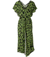 eva snakeskin texture midi dress - green