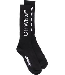 off-white logo print socks - black
