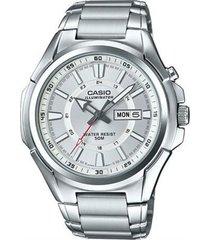 reloj analógico hombre casio mtp-e200d7a2 - plateado con blanco  envio gratis*