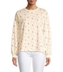 c & c california women's bishop-sleeve floral sweatshirt - cream - size xl