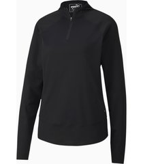 mesh golftrui voor dames, zwart, maat xxl | puma