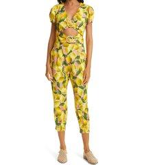 women's farm rio fresh lemons cutout crop jumpsuit, size medium - yellow