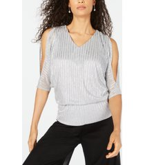 msk metallic cold-shoulder blouson top